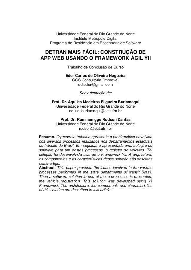 Universidade Federal do Rio Grande do Norte Instituto Metrópole Digital Programa de Residência em Engenharia de Software D...