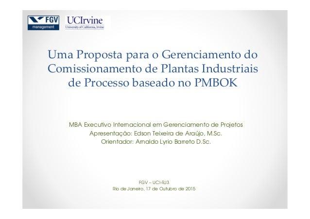 Uma Proposta para o Gerenciamento do Comissionamento de Plantas Industriais de Processo baseado no PMBOK MBA Executivo Int...