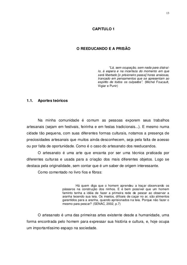 13                                          CAPITULO 1                               O REEDUCANDO E A PRISÃO              ...
