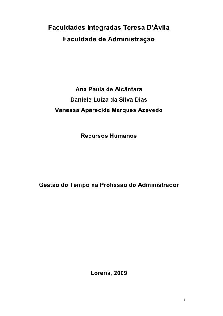 Faculdades Integradas Teresa D'Ávila       Faculdade de Administração           Ana Paula de Alcântara          Daniele Lu...