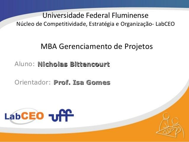 Universidade Federal FluminenseNúcleo de Competitividade, Estratégia e Organização- LabCEO        MBA Gerenciamento de Pro...