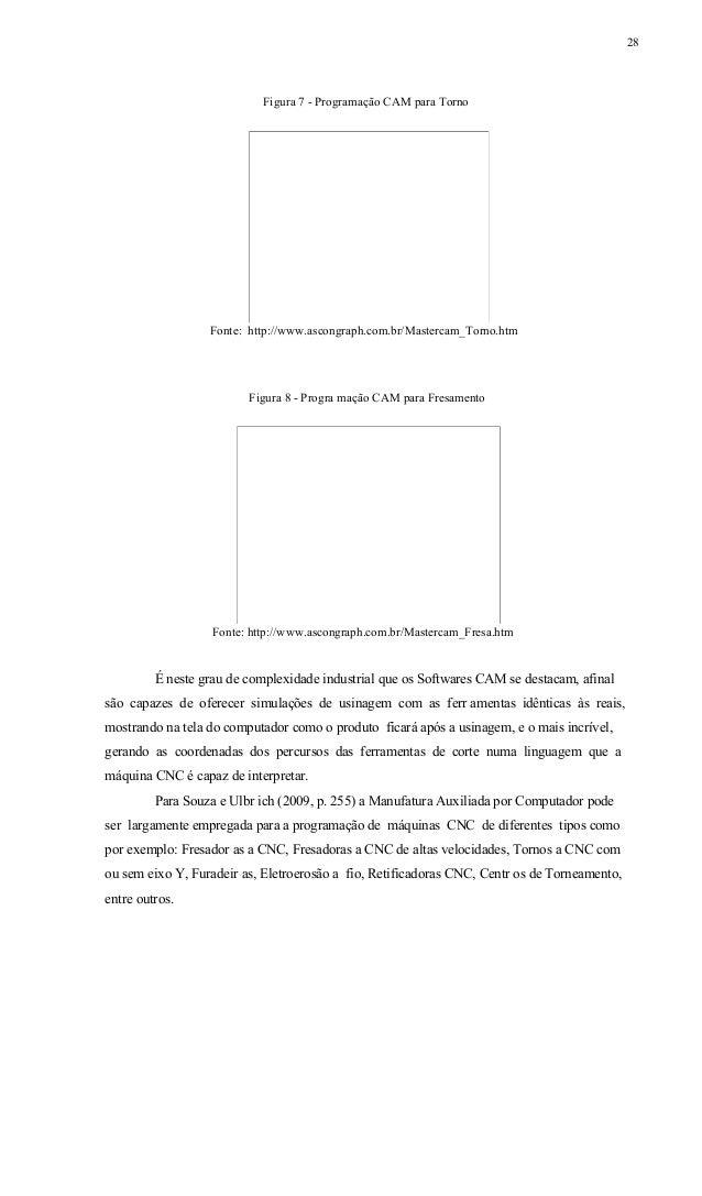 29 Os autores Souza e Ulbrich (2009, p. 255), ressaltam que existem vários sistemas CAM, em sua maioria obedece duas estru...