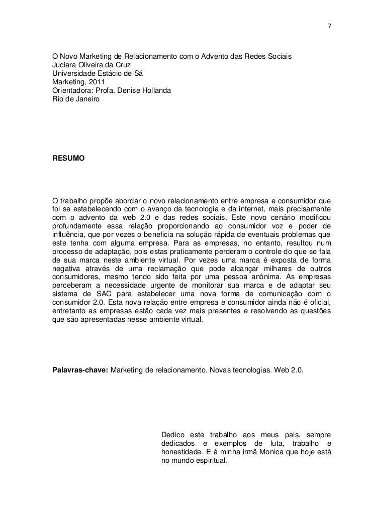 40168fb07c3 7O Novo Marketing de Relacionamento com o Advento das Redes SociaisJuciara  Oliveira da CruzUniversidade Estácio de ...