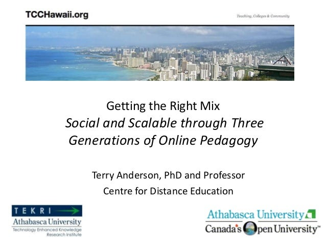 Getting the Right MixSocial and Scalable through ThreeGenerations of Online PedagogyTerry Anderson, PhD and ProfessorCentr...