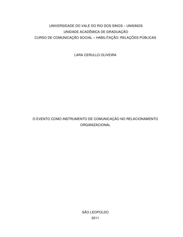 UNIVERSIDADE DO VALE DO RIO DOS SINOS – UNISINOS              UNIDADE ACADÊMICA DE GRADUAÇÃOCURSO DE COMUNICAÇÃO SOCIAL – ...