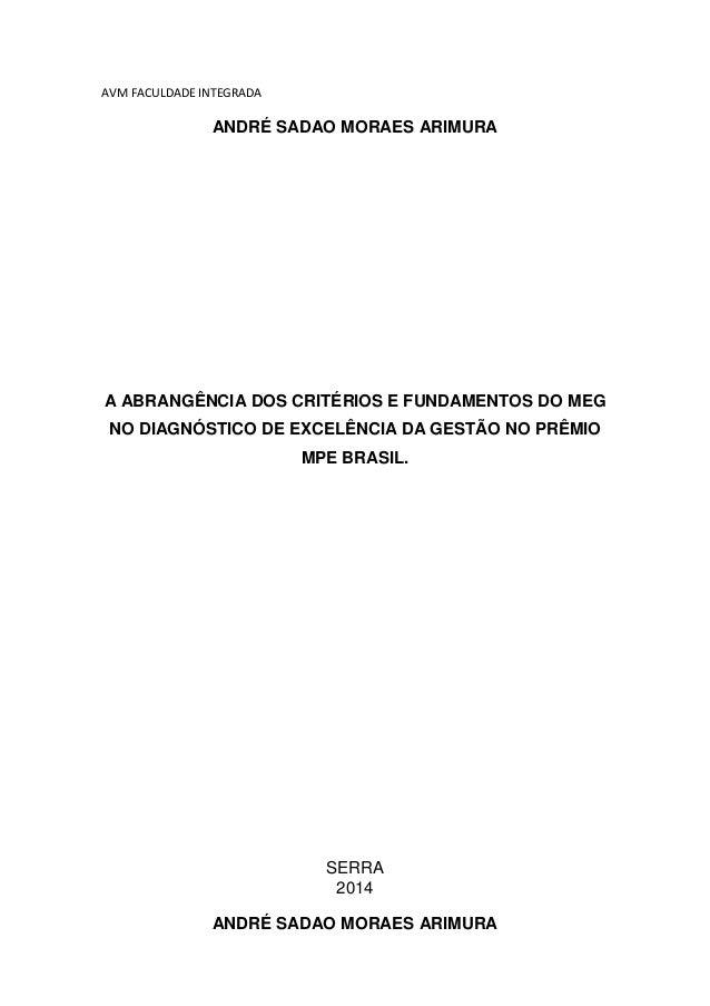 AVM FACULDADE INTEGRADA ANDRÉ SADAO MORAES ARIMURA A ABRANGÊNCIA DOS CRITÉRIOS E FUNDAMENTOS DO MEG NO DIAGNÓSTICO DE EXCE...