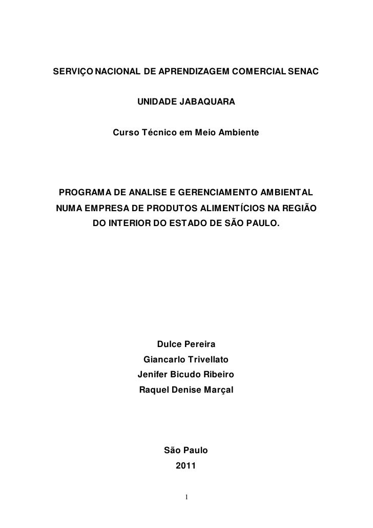 SERVIÇO NACIONAL DE APRENDIZAGEM COMERCIAL SENAC               UNIDADE JABAQUARA          Curso Técnico em Meio Ambiente P...