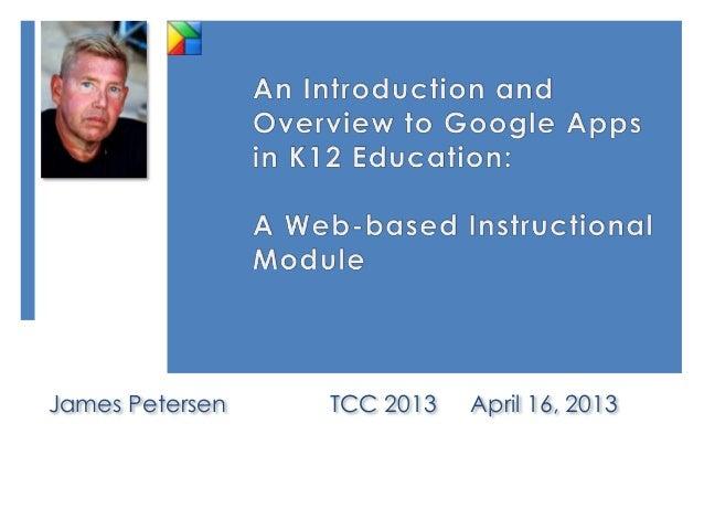 James Petersen   TCC 2013   April 16, 2013