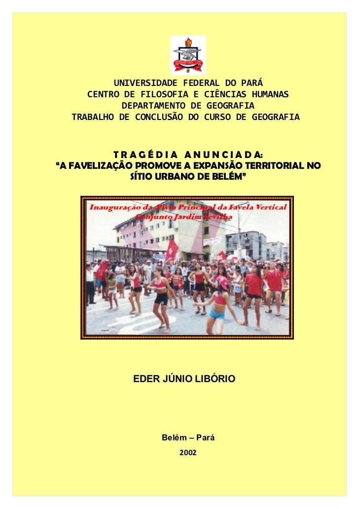 UNIVERSIDADE FEDERAL DO PARÁ     CENTRO DE FILOSOFIA E CIÊNCIAS HUMANAS            DEPARTAMENTO DE GEOGRAFIA  TRABALHO DE ...