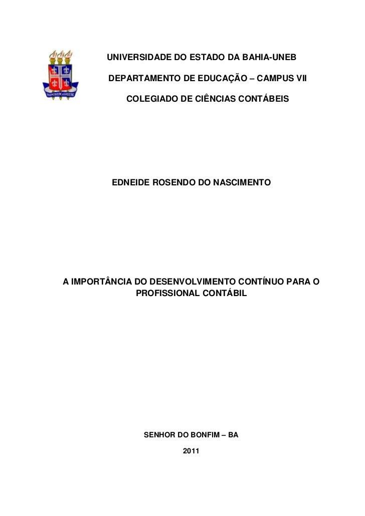 UNIVERSIDADE DO ESTADO DA BAHIA-UNEB        DEPARTAMENTO DE EDUCAÇÃO – CAMPUS VII           COLEGIADO DE CIÊNCIAS CONTÁBEI...