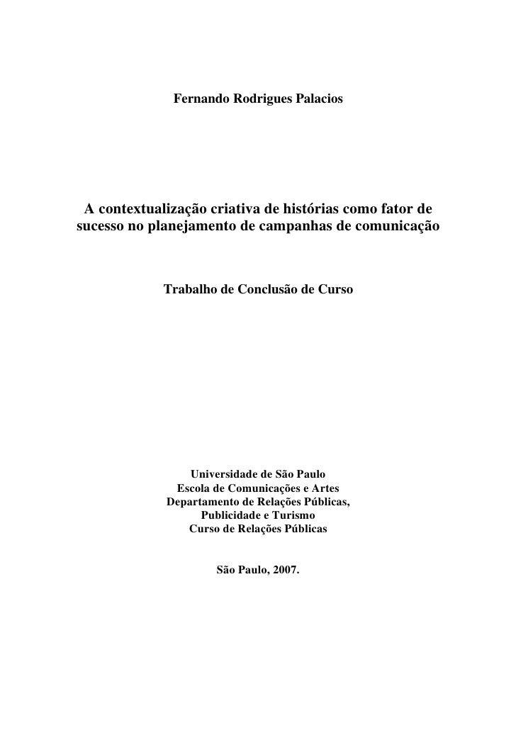 Primeiro Trabalho Acadêmico de Storytelling no Brasil