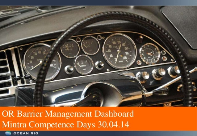 OR Barrier Management Dashboard Mintra Competence Days 30.04.14