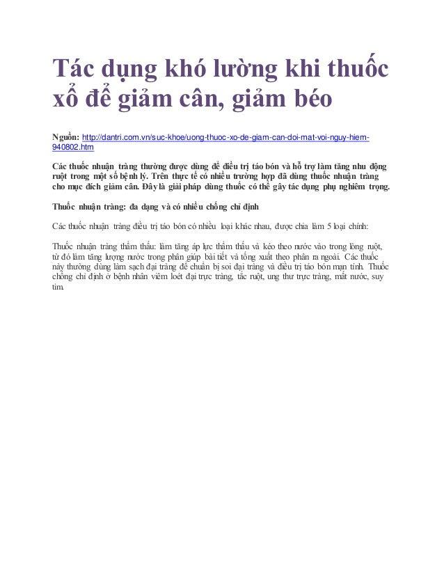 Tác dụng khó lường khi thuốc xổ để giảm cân, giảm béo Nguồn: http://dantri.com.vn/suc-khoe/uong-thuoc-xo-de-giam-can-doi-m...