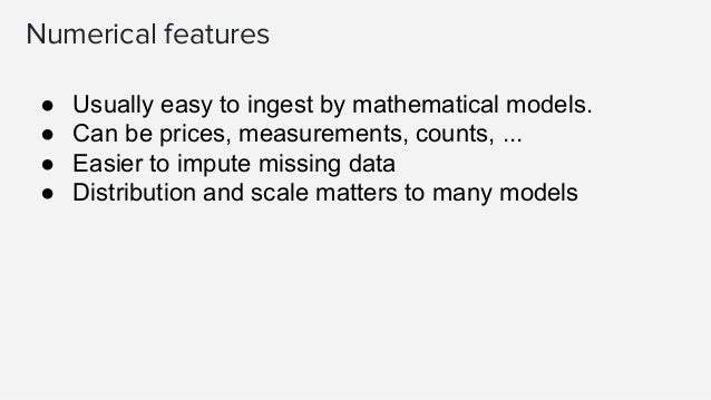 Imputation for missing values ● Datasets contain missing values, often encoded as blanks, NaNs or other placeholders ● Ign...