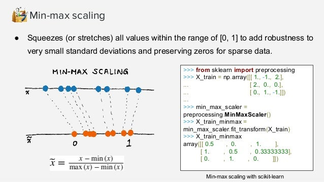 Standard (Z) Scaling After Standardization, a feature has mean of 0 and variance of 1 (assumption of many learning algorit...