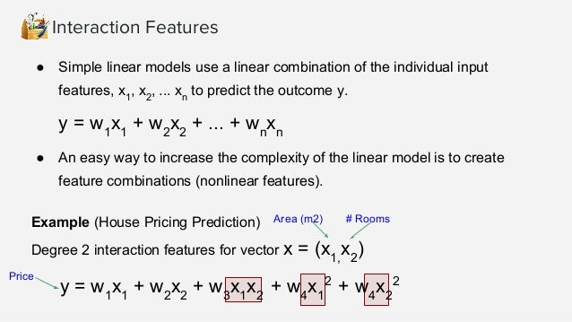 Interaction Features >>> import numpy as np >>> from sklearn.preprocessing import PolynomialFeatures >>> X = np.arange(6)....