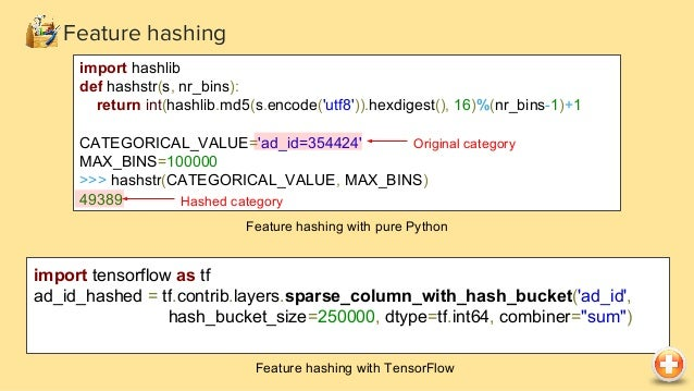Feature hashing vw --loss_function logistic --link=logistic --ftrl --ftrl_alpha 0.005 --ftrl_beta 0.1 -q cc -q zc -q zm -l...