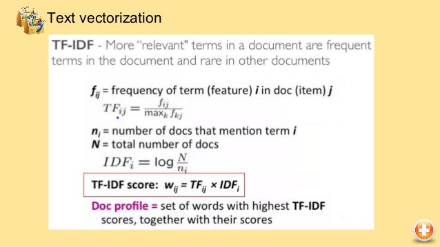 from sklearn.feature_extraction.text import TfidfVectorizer vectorizer = TfidfVectorizer(max_df=0.5, max_features=1000, mi...