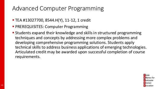 Making Sense of Texas High School Computer Science Requirements and O…