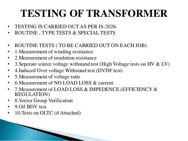 Testing of transformer