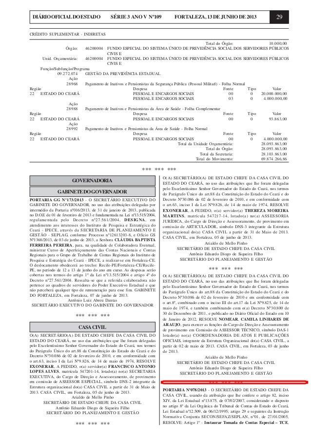 29DIÁRIOOFICIALDOESTADO SÉRIE 3 ANO V Nº109 FORTALEZA,13DEJUNHODE2013GOVERNADORIAGABINETEDOGOVERNADORPORTARIA GG Nº173/201...