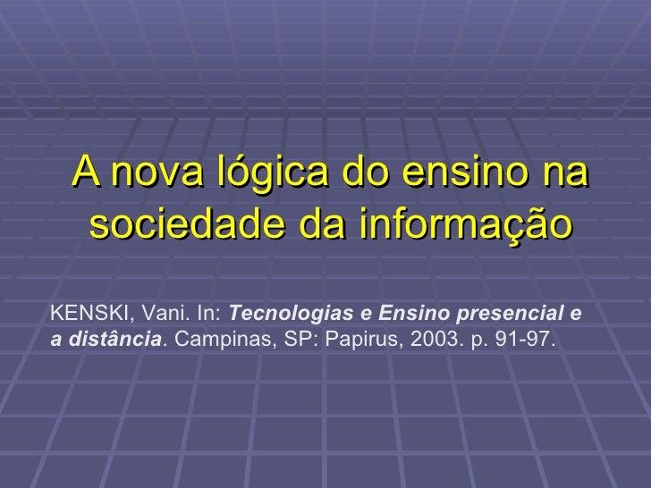 A nova lógica do ensino na sociedade da informação KENSKI, Vani. In:  Tecnologias e Ensino presencial e a distância . Camp...