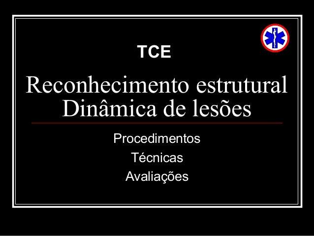 Reconhecimento estrutural Dinâmica de lesões Procedimentos Técnicas Avaliações TCE