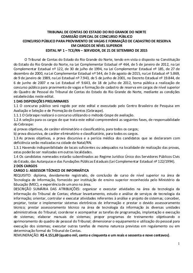 1 TRIBUNAL DE CONTAS DO ESTADO DO RIO GRANDE DO NORTE COMISSÃO ESPECIAL DE CONCURSO PÚBLICO CONCURSO PÚBLICO PARA PROVIMEN...