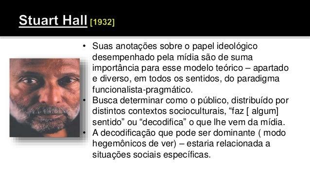 • Suas anotações sobre o papel ideológico desempenhado pela mídia são de suma importância para esse modelo teórico – apart...