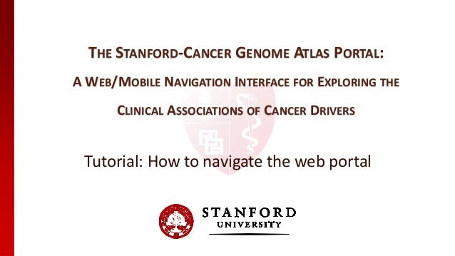 THE STANFORD-CANCER GENOME ATLAS PORTAL: A WEB/MOBILE NAVIGATION INTERFACE FOR EXPLORING THE CLINICAL ASSOCIATIONS OF CANC...