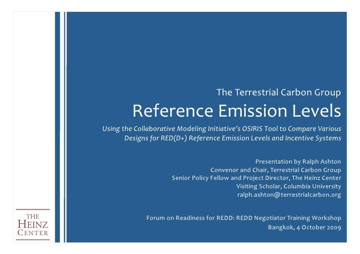 The  Terrestrial  Carbon  Group                 Reference  Emission  Levels   Using  the  Collaborative...