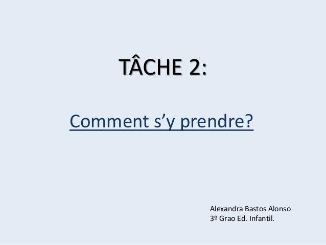 TÂCHE 2: Comment s'y prendre?  Alexandra Bastos Alonso 3º Grao Ed. Infantil.