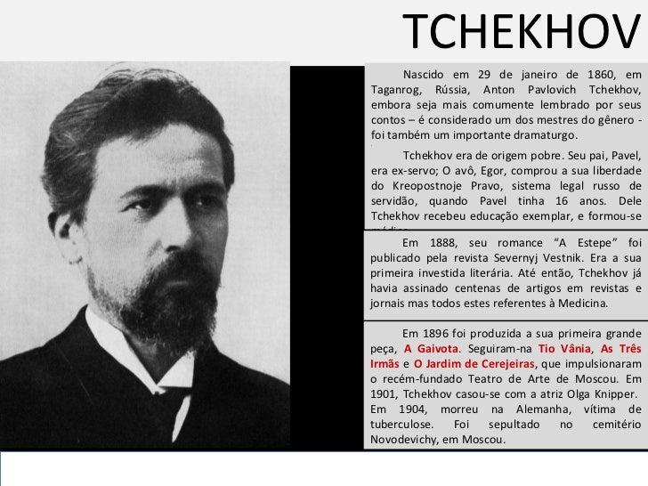 TCHEKHOV Nascido em 29 de janeiro de 1860, em Taganrog, Rússia, Anton Pavlovich Tchekhov, embora seja mais comumente lembr...