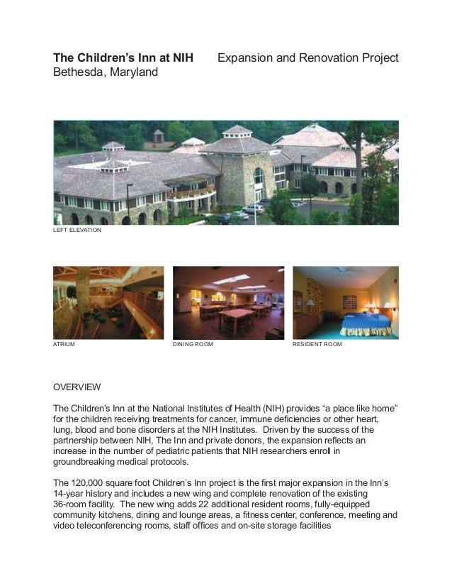 The Children's Inn at NIH                    Expansion and Renovation ProjectBethesda, MarylandLEFT ELEVATIONATRIUM       ...
