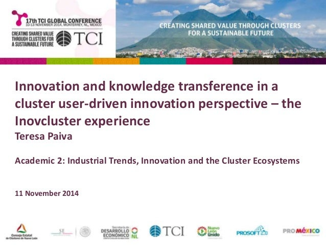 Innovation and knowledge transference in a  cluster user-driven innovation perspective – the  Inovcluster experience  Tere...
