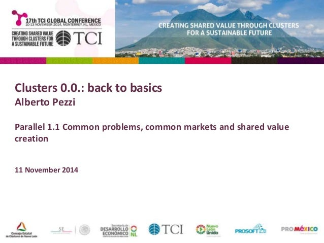 Clusters 0.0.: back to basics  Alberto Pezzi  Parallel 1.1 Common problems, common markets and shared value  creation  11 ...