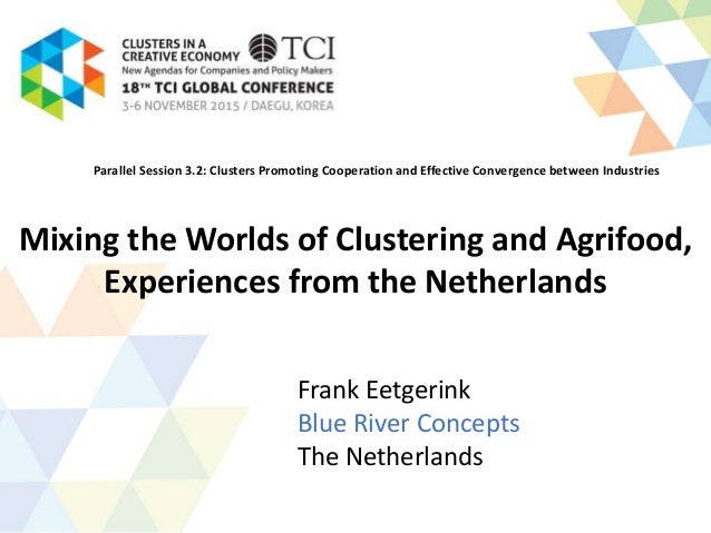 Mixing the Worlds of Clustering and Agrifood, Experiences from the Netherlands Frank Eetgerink Blue River Concepts The Net...
