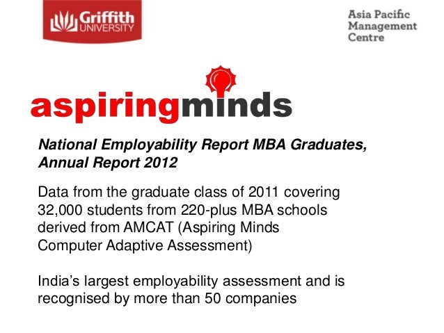 National Employability Report MBA Graduates,Annual Report 2012Data from the graduate class of 2011 covering32,000 students...