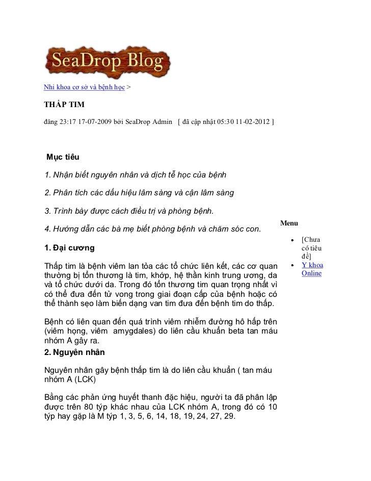 Nhi khoa cơ sở và bệnh họcTHẤP TIMđăng 23:17 17-07-2009 bởi SeaDrop Admin [ đã cập nhật 05:30 11-02-2012 ]Mục tiêu1. Nhận ...