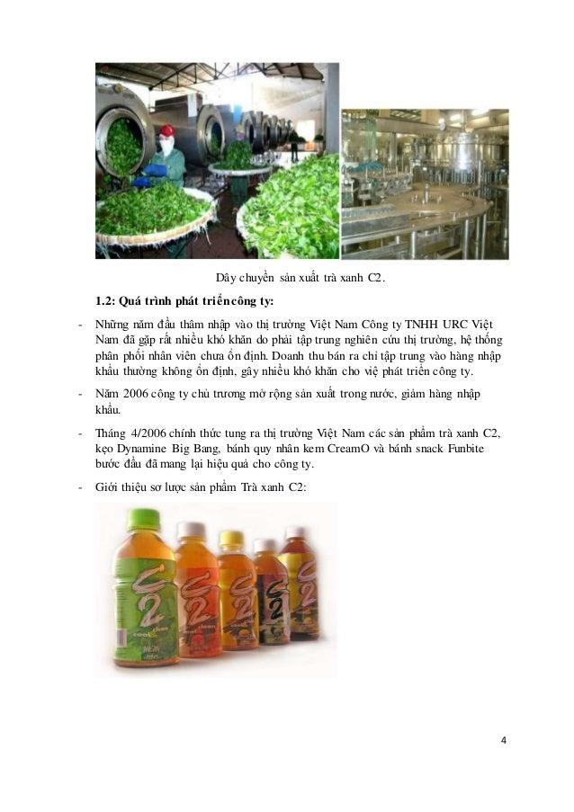4  Dây chuyền sản xuất trà xanh C2.  1.2: Quá trình phát tri ển công ty:  - Những năm đầu thâm nhập vào thị trường Việt Na...