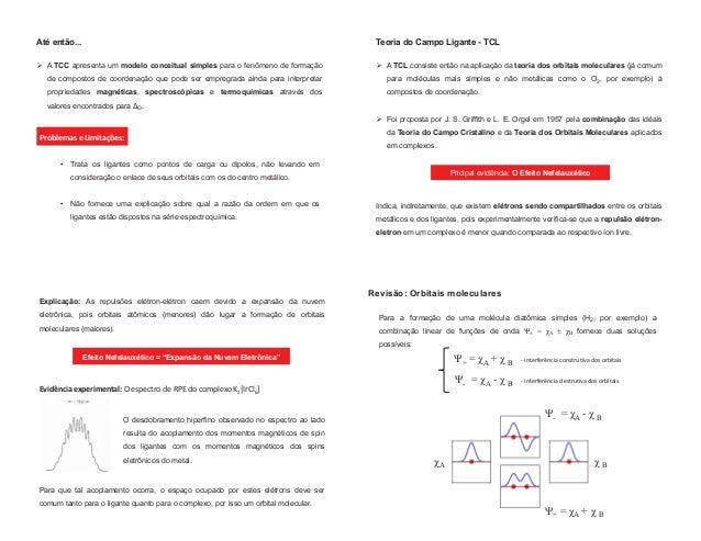 Até então... ¾ A TCC apresenta um modelo conceitual simples para o fenômeno de formação de compostos de coordenação que po...