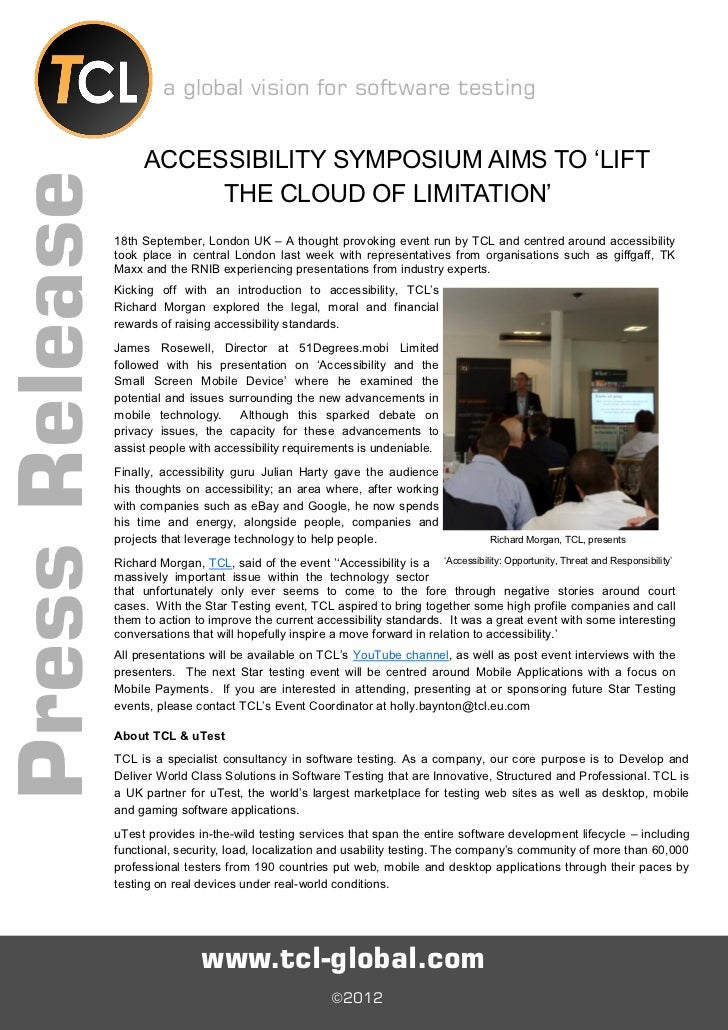 a global vision for software testing                      ACCESSIBILITY SYMPOSIUM AIMS TO 'LIFTPress Release              ...