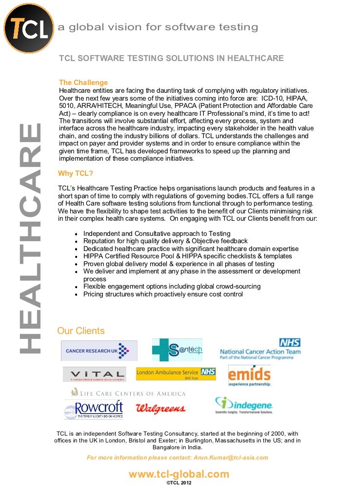 a global vision for software testing              TCL SOFTWARE TESTING SOLUTIONS IN HEALTHCARE              The Challenge ...