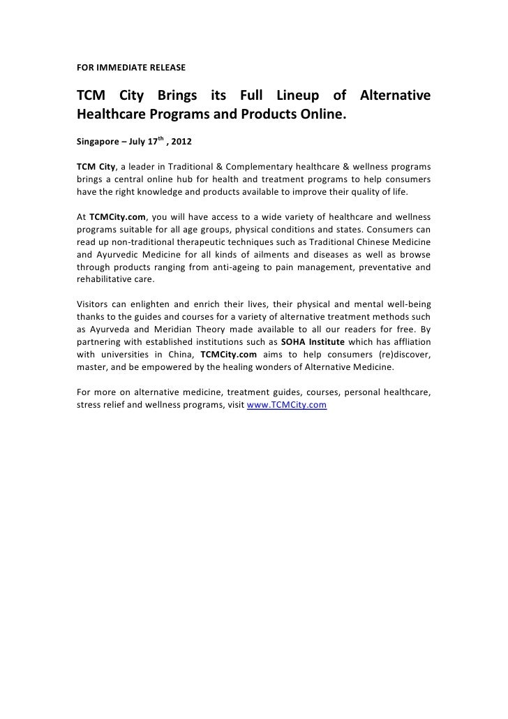 FOR IMMEDIATE RELEASETCM City Brings its Full Lineup of AlternativeHealthcare Programs and Products Online.Singapore – Jul...