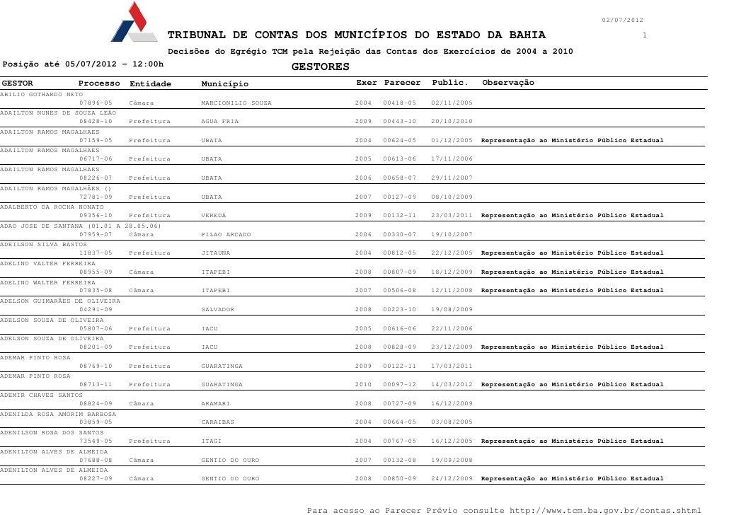 02/07/2012                                        TRIBUNAL DE CONTAS DOS MUNICÍPIOS DO ESTADO DA BAHIA                    ...