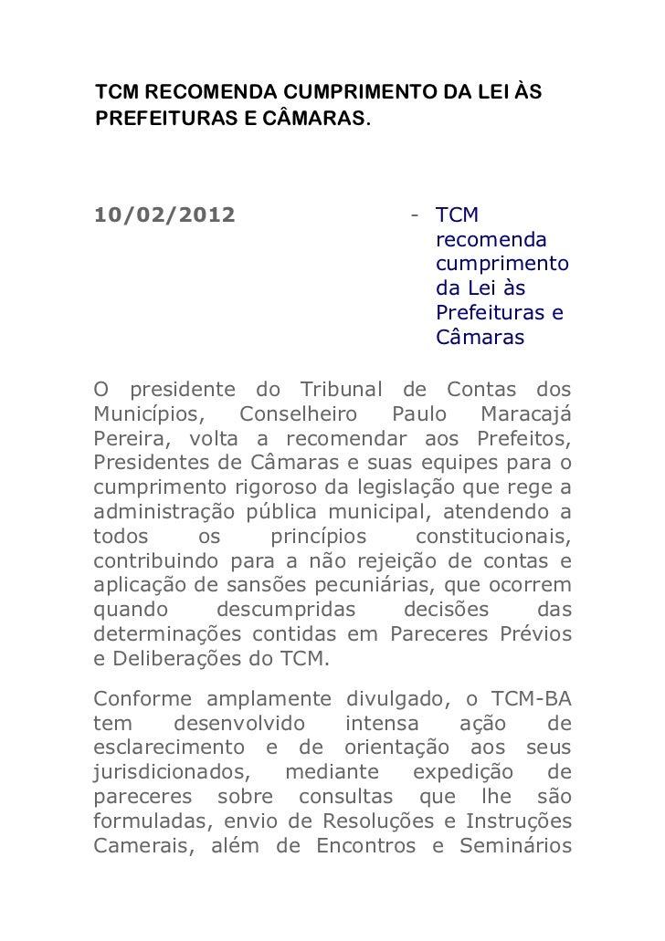 Tcm recomenda cumprimento da lei às prefeituras e câmaras