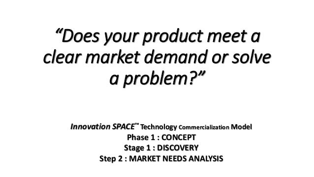"""Does your product meet a clear market demand or solve a problem?"" Innovation SPACE™ Technology Commercialization Model Ph..."