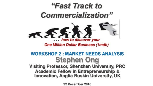 """Fast Track to Commercialization"" … how to discover your One Million Dollar Business (1mdb) WORKSHOP 2 : MARKET NEEDS ANAL..."