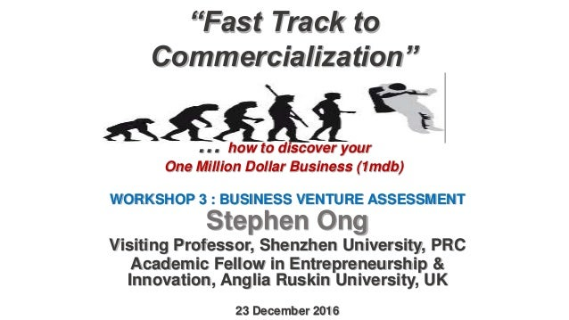"""Fast Track to Commercialization"" … how to discover your One Million Dollar Business (1mdb) WORKSHOP 3 : BUSINESS VENTURE ..."