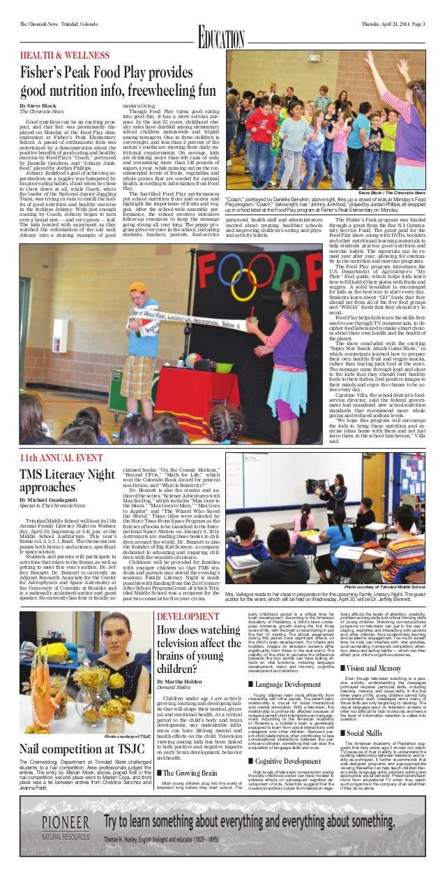 Thursday, April 24, 2014 Page 3The Chronicle-News Trinidad, Colorado EducationHEALTH & WELLNESS Fisher's Peak Food Play pr...